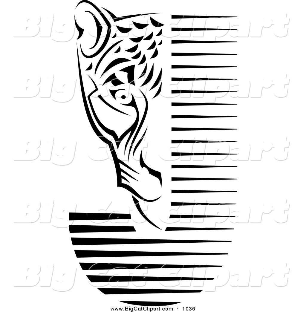 Big Cat Vector Clipart Of A Black And White Jaguar Face