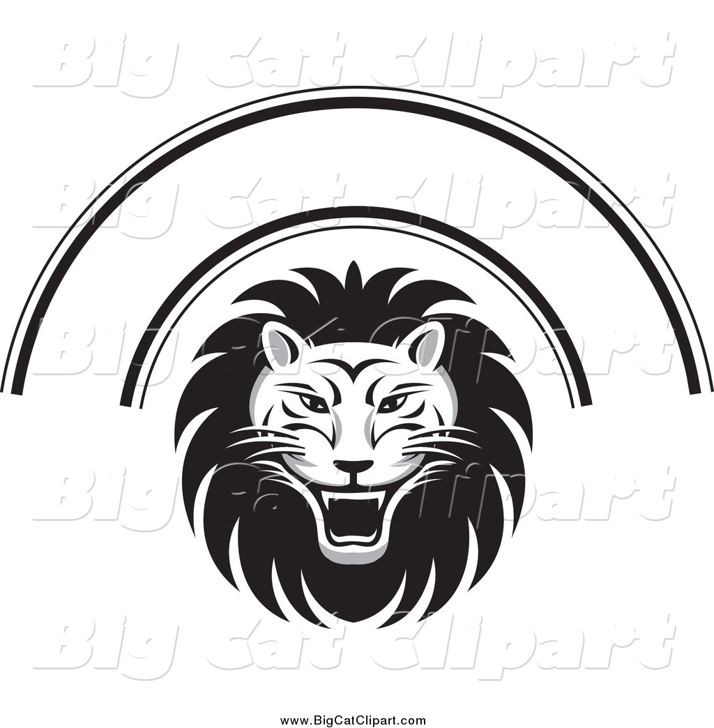 Big Cat Vector Clipart Of A Black And White Lion Face And
