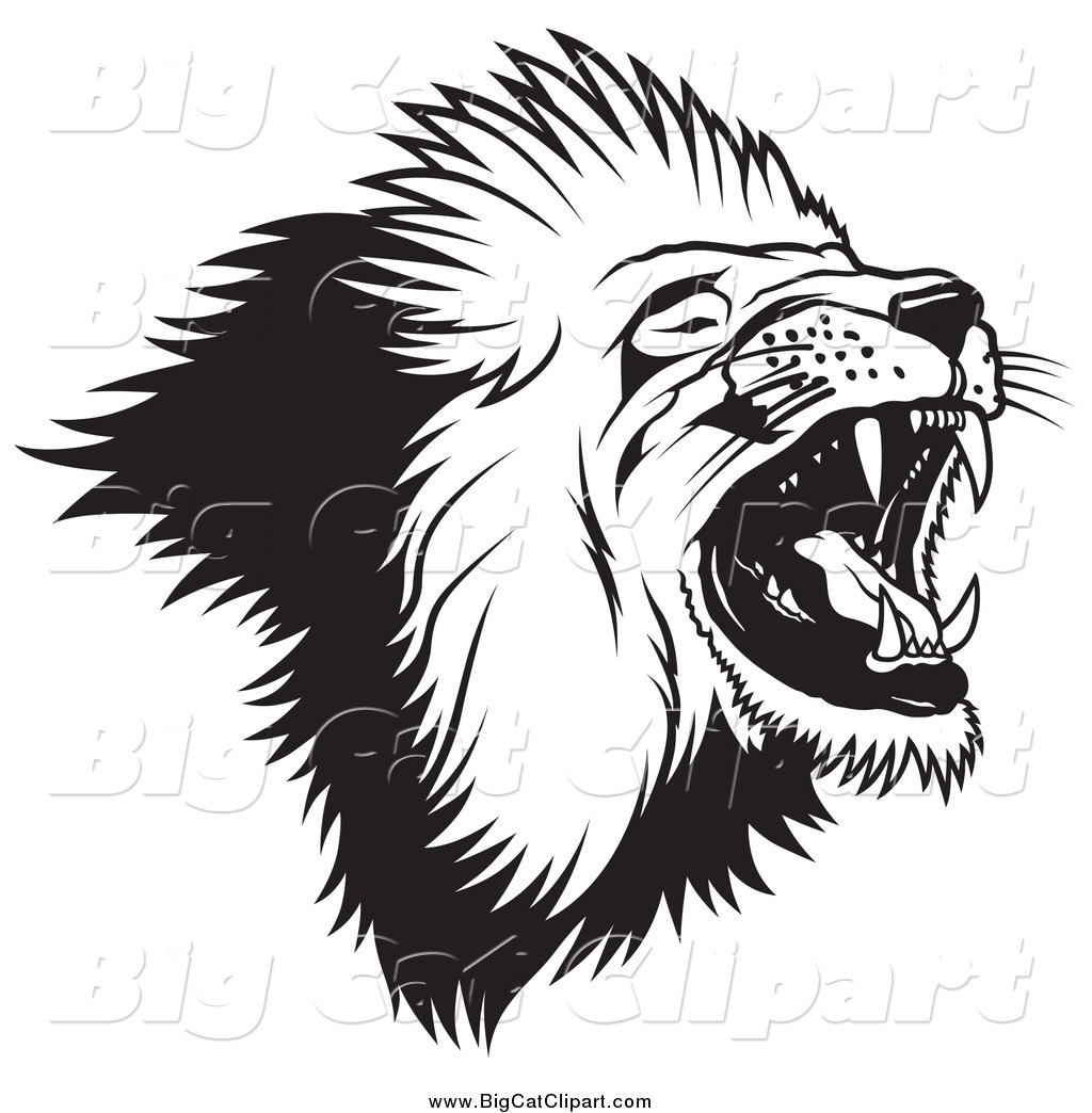 Big Cat Vector Clipart Of A Black And White Roaring Lion