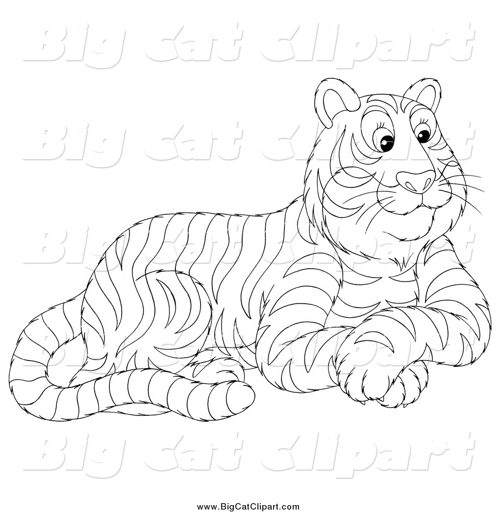 Big Cat Vector Clipart Of A Black And White Seated Tiger