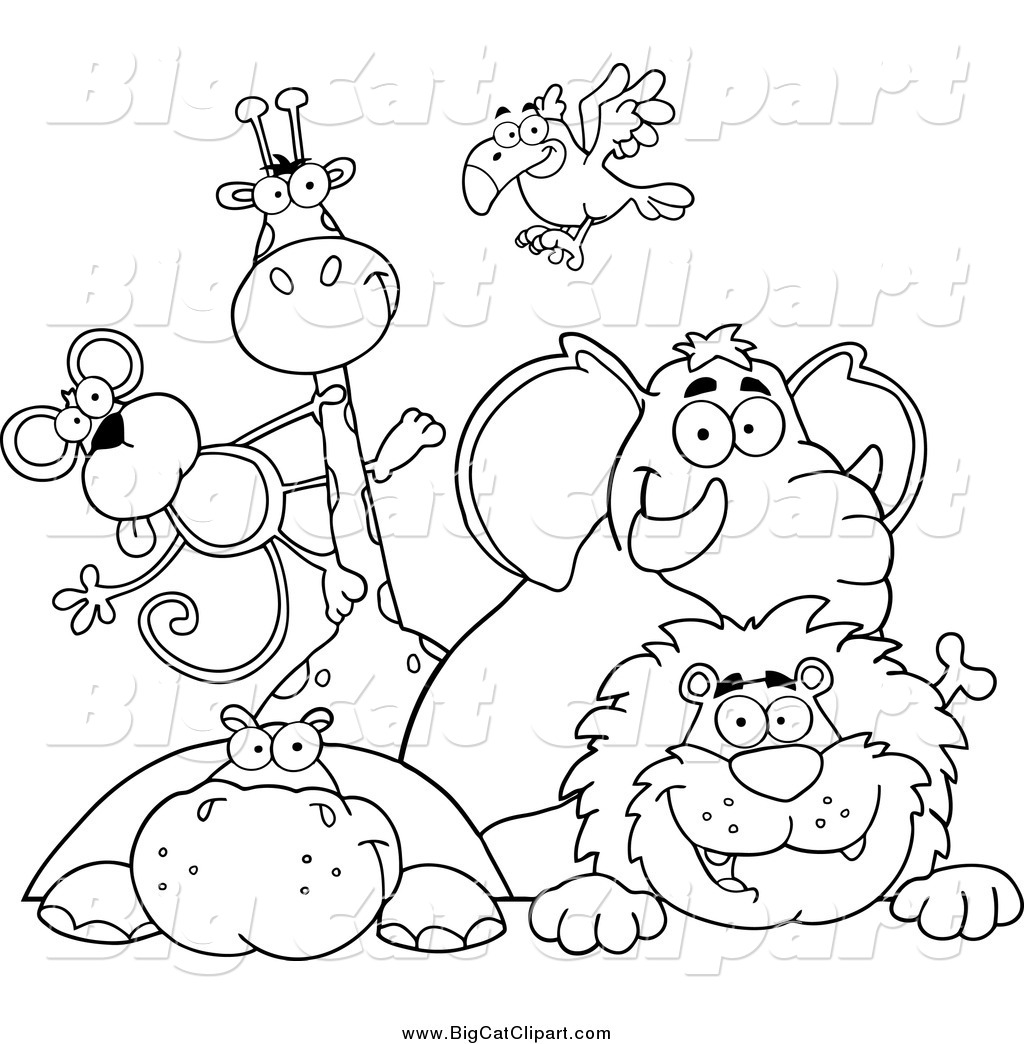 Big Cat Vector Clipart Of Black And White Happy Zoo
