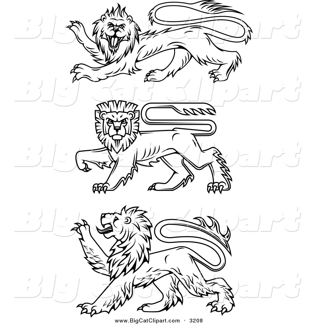 Big Cat Vector Clipart Of Black Heraldic Lions By Vector