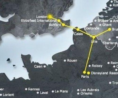 Карта маршрута Eurostar