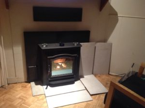 pellet stove with fire tile surround