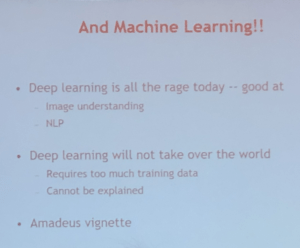 Photo of slide from preso with Machine Learning title