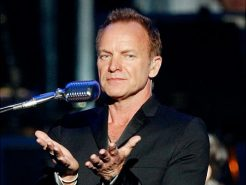 """LAS VEGAS - JUNE 18:  Recording artist Sting performs with London's Royal Philharmonic Concert Orchestra during his Symphonicity tour at the MGM Grand Garden Arena June 18, 2010 in Las Vegas, Nevada. Sting will release the album, """"Symphonicities"""" on July 13, 2010.  (Photo by Ethan Miller/Getty Images)   Original Filename: GYI0060799171.jpg"""