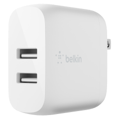 Belkin – Dual Port Usb A 24w Wall Charger With Apple Lightning Cable 3ft – White