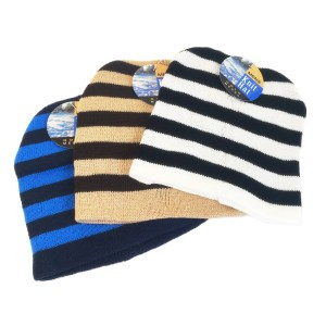 Men s Striped Knit Winter Hat – Assorted b02c8bfe39aa