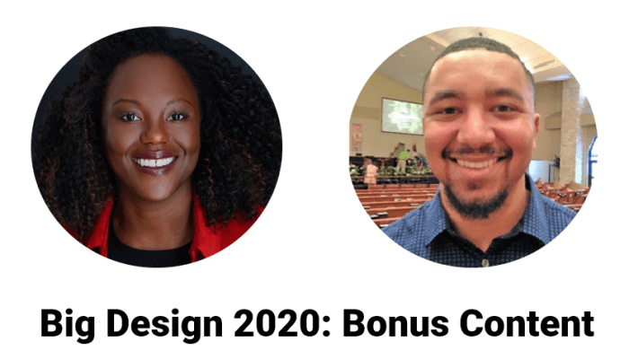 Big Design Bonus Content. Pictures of Christian Knebel and Yeri Olengue, who will be producings a video to talk about re-imagining the airline baggage experience.