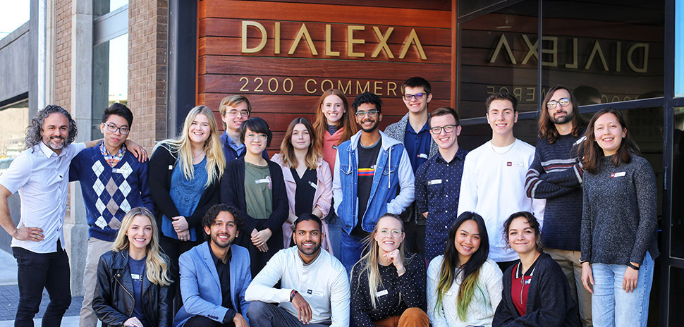 Group photo of students from UNT, TCU, and UTD that went through the Dialexa mentorship prgoram.