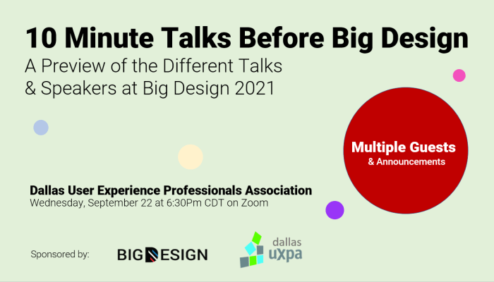 10 Minute Talks Ahead of Big Design 2021