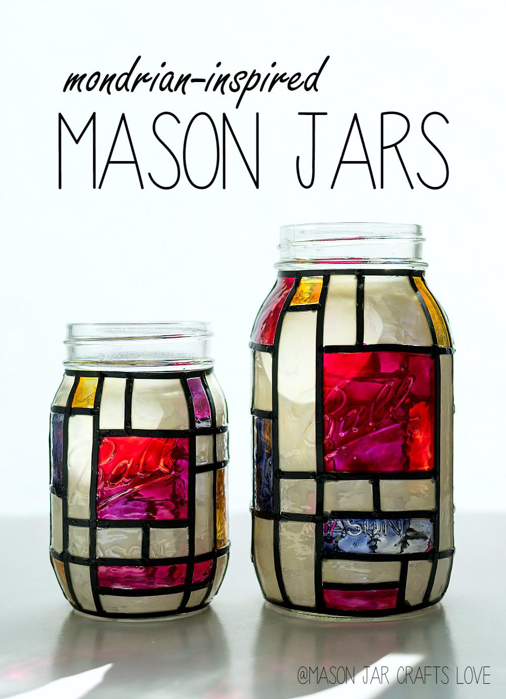 Mondrian Inspired Mason Jars