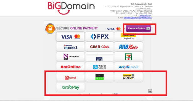Added GrabPay, QRPay & Razer Payment Options to BigDomain 6