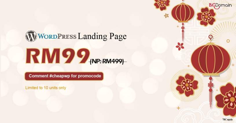 Get your WordPress landing page at RM99 only 1