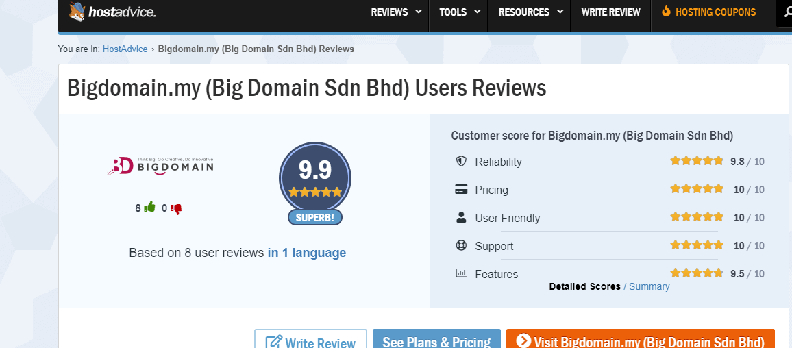 Bigdomain's outstanding review and rating - hostadvice