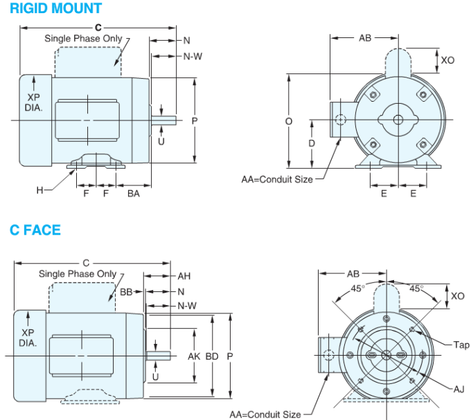 Nema motor dimensions c face for Nema motor frame sizes