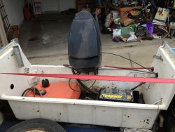 Stern tub and transom with old motor mounted
