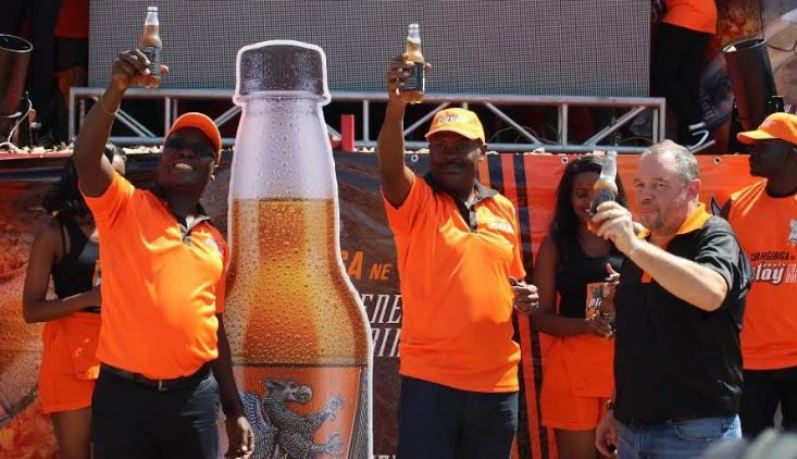 R-L: CCBA Managing Director Conrad Van Niekerk, CCBA Public Relations and Communications Director Simon Kaheru, and CCBA Commercial Director Patrick Oyuru launching the new energy drink.