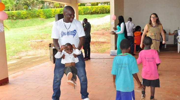 Patrick Salvado Idringi donates to Children at Angel's Centre for Children with special needs in Wakiso