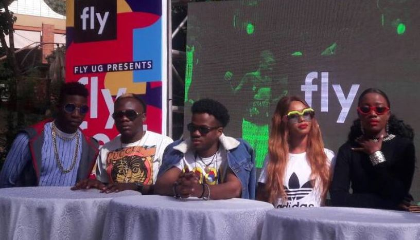 L-R: Da Agent, Geosteady, Korede Bello, Spice Diana and Lydia Jazmine during the Fly Fest press conference.