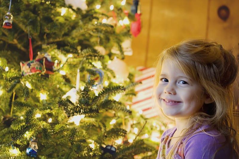 Peyton at the Christmas Tree