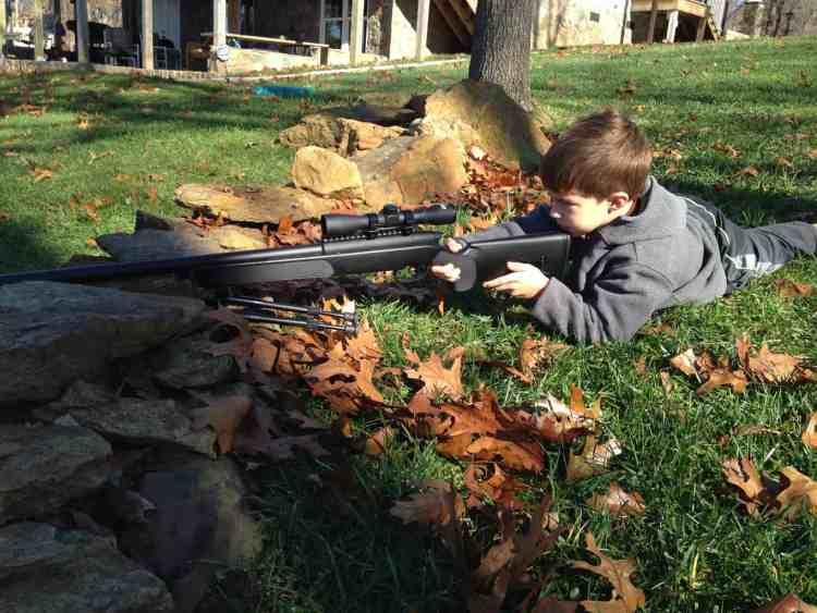 Shooting his gun