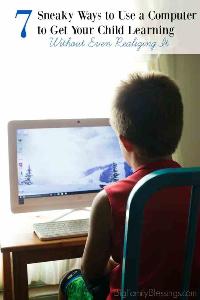 7 Sneaky Ways to Use a Computer to Get Your Child Learning Without Even Realizing It. Homeschool computer ideas for the homeschool mom.