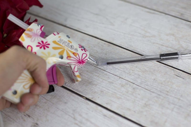 DIY Christmas Poinsettia Flower Pen Gift tutorial