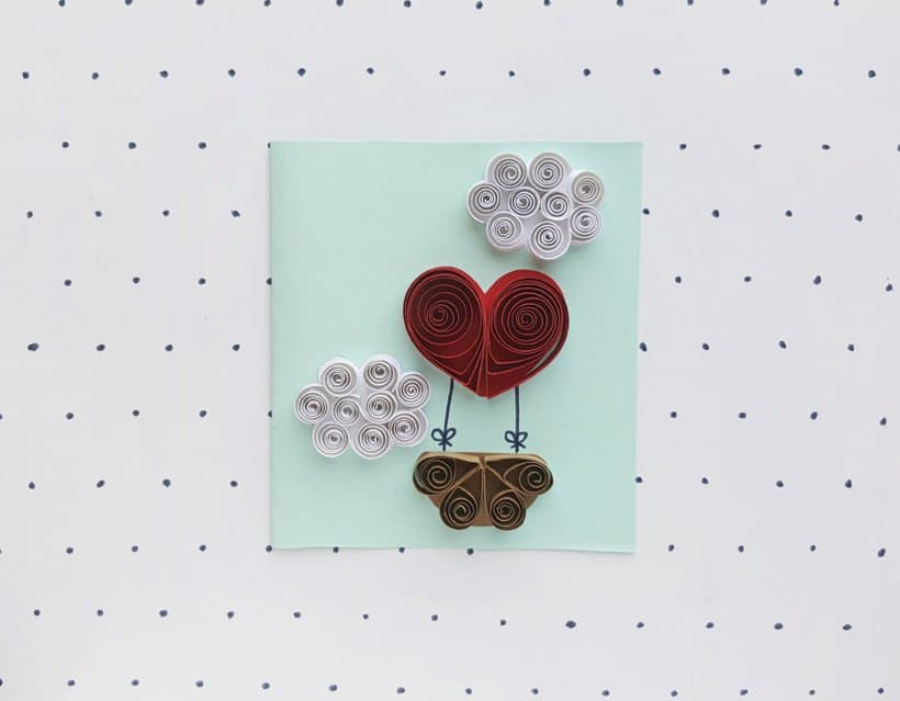 DIY Quilled Heart Hot Air Balloon Valentines Day Card