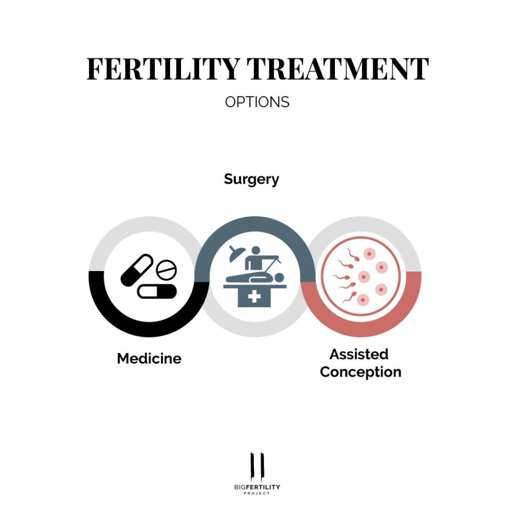 fertility treatment option, medicine, surgery or assisted conception