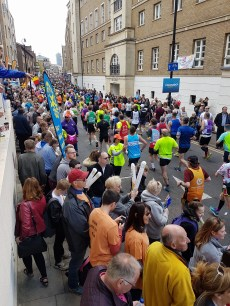 The massed ranks pass the BAC support at mile 14. Photos: Vikki Vowles