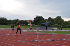 Zoe in the 80m hurdles. Photo by Stuart Goodwin