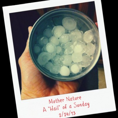 Wordless Wednesday (Hail of a Sunday Edition)