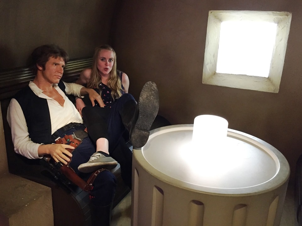 Chilling out with Hans Solo on the set of Star Wars
