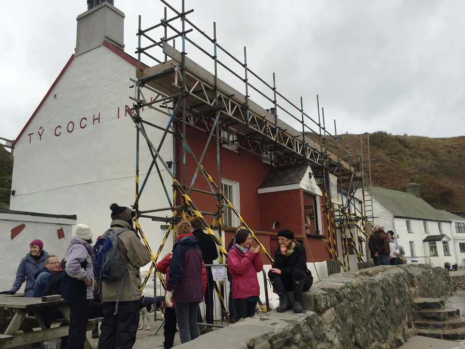 The Ty Coch Inn having some running roof repairs