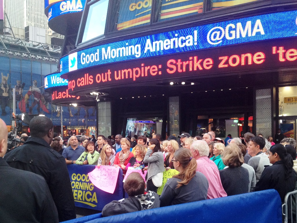 GMA in Times Square on the corner of 44th Street and Broadway