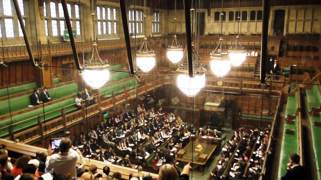 The view down into the House of Commons from the back of the visitors' gallery.