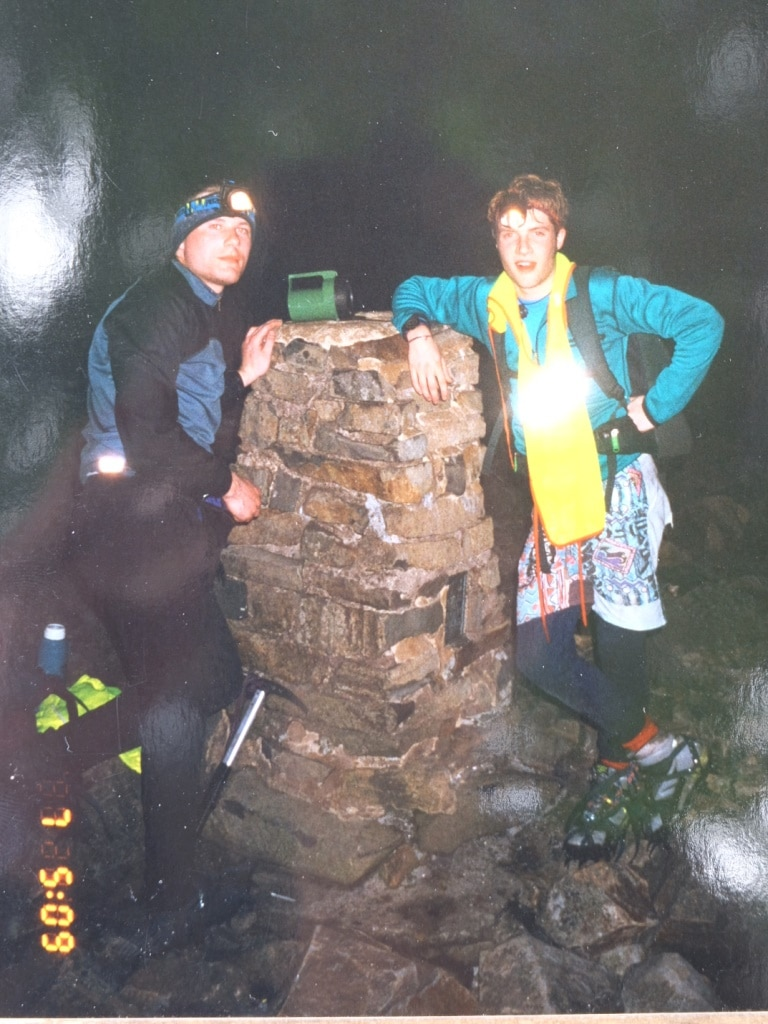 Making a bad fashion statement at the Scafell Pike trig point