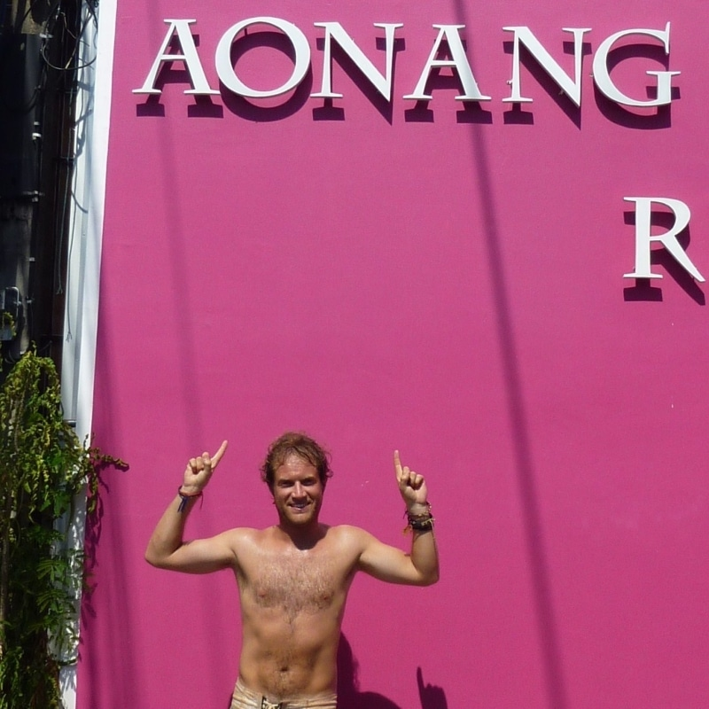 Tanned with traveller hair in Thailand's Aonang