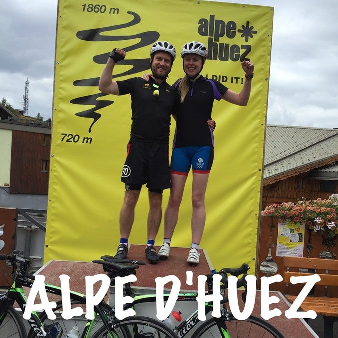 On the podium after completing Alpe D'Huez
