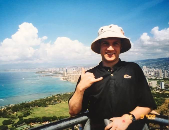 At the top of Diamond Head in Oahu Hawaii