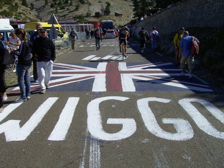 Our Union Flag and WIGGO on Mont Ventoux