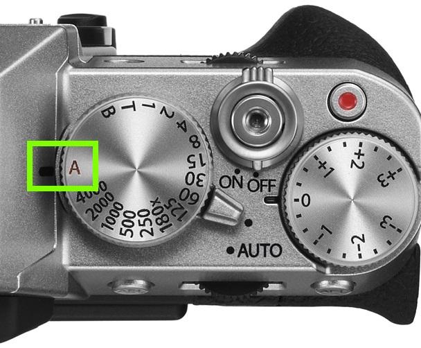 The aperture dial setting on my Fuji DSLR