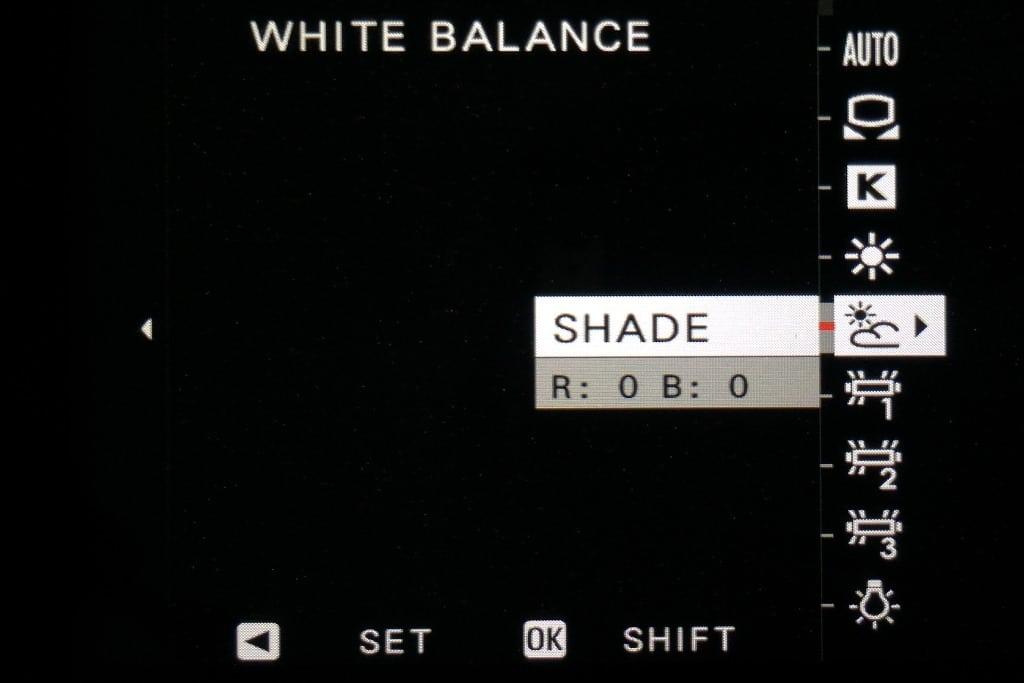White balance shade setting