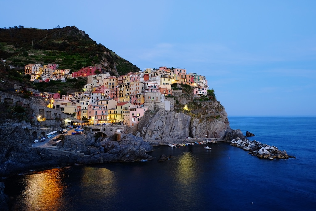 Manarola view from the main walkway at dusk