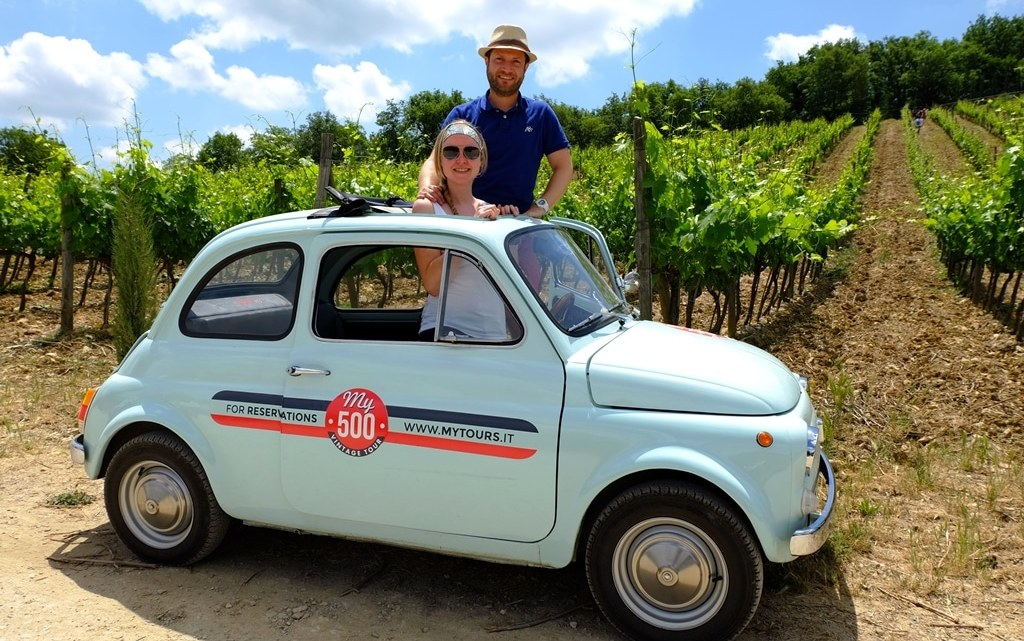 Driving a vintage Fiat 500 around Tuscany Italy