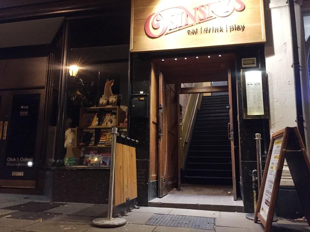 Hitchin's Osinsky's bar where you actually go up to go in