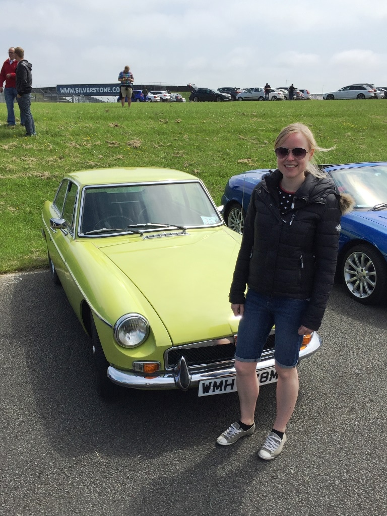 Waiting near Brooklands Corner to drive a classic MGB out on the track