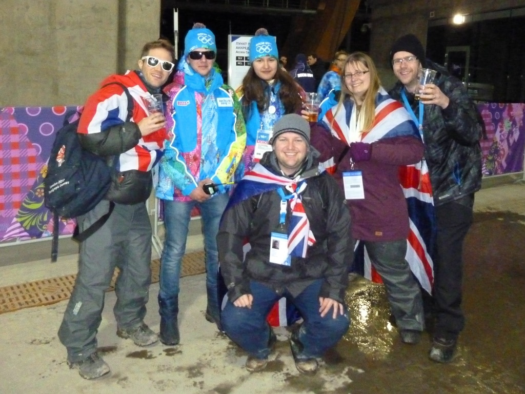 "Fellow Brits with some ""Games Makers"" at the Winter Olympics' skeleton track"