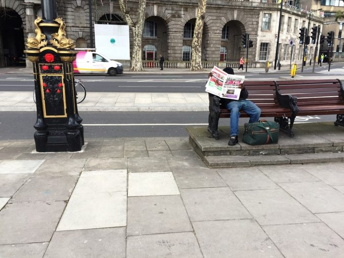Is this Embankment Bench the centre of London?